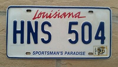 LOUISIANA ~ Sportsman's Paradise ~ License Plate TAG # HNS 504  Tigers  LSU Tech