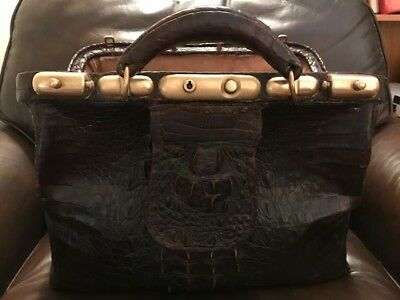 Alligator Doctor Bag w Brass Fittings Antique