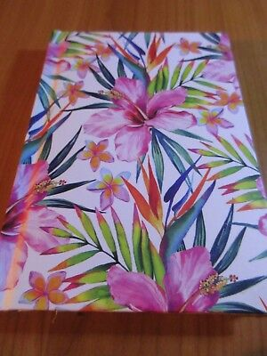 A6 sized Note Book Pink Hibiscus Hardcover 160mm X 110mm free postage in stock