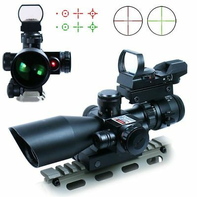 Tactical 2.5-10X40 Rifle Scope w/ 20mm Rail Holographic Red Green Dot Sight