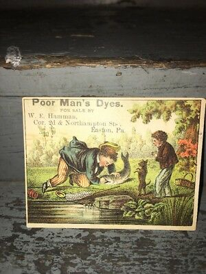 Early 1880s Trade / Blotter Card Fishing Theme Poor Mans Easter Egg Dyes Easton