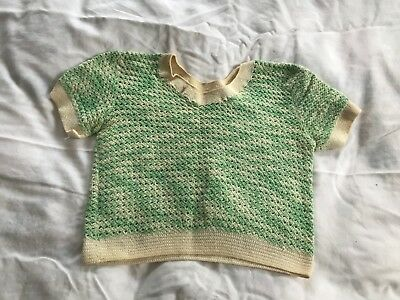 Vintage 1940's 1950's Womens Green & Ivory Crocheted Short Sleeve Shirt Top XS/S