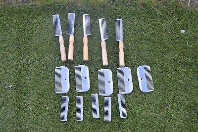 Job Lot Metal Mane And Tail Combs X 15 Total 5 Handle,5 Small Pulling Combs 5 Lg