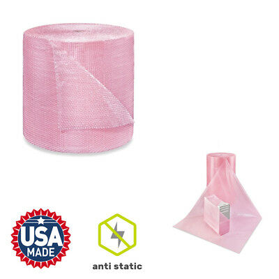 """50 Foot PINK Anti-Static Bubble Roll 3/16"""" Small Bubbles  12"""" Perforated"""