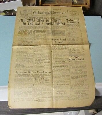 June 23 1943 Gibraltar Chronicle Newspaper Five Ships Sunk in Convoy Naples Fire
