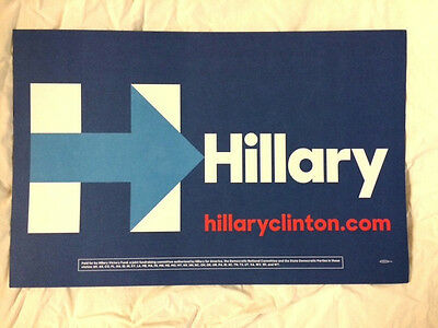 """Official 2016 Democratic Convention Rally Sign """"Hillary"""" On Both Sides 17""""x11"""""""