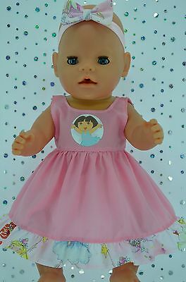"Play n Wear Doll Clothes To Fit 17"" Baby Born PATTERN/PINK DRESS~HEADBAND"