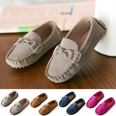 Kids Boys Girls Suede Boat Sneakers Flat Shoes Slip On Loafers Moccasins Fashion