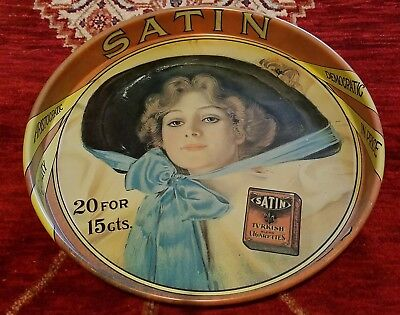 Vintage SATIN CIGARETTES Serving Tray - Advertising Collectible