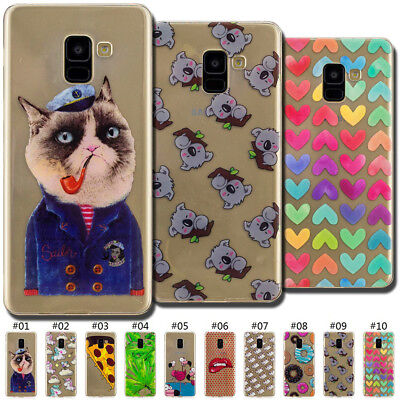 Painted Soft Silicone Back TPU Skin Clear Case Cover For Samsung Galaxy A8(2018)