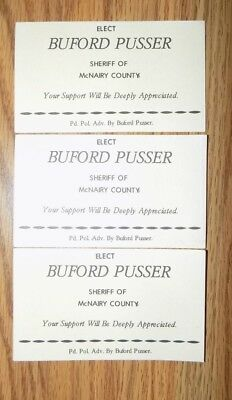 Buford Pusser Election Cards Lot Of 3 Original Cards 1960's Issue See  Pics