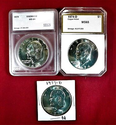 NICE Ike Dollar 3-Lot / $65 Coin World Value! / SERIOUS BARGAIN!