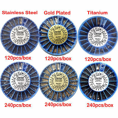 Dental Assorted Tapered Screw Post NORDIN Kit 24K Gold Plated Titanium Stainless