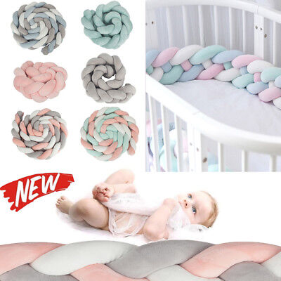 Baby Plush Crib Bumper Bed Home Bedding Cot Braid Pad Protector Pillow PP Cotton