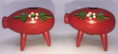 VTG PAIR SWEDISH RED WOOD PIGS Floral CANDLE HOLDER MADE IN SWEDEN HAND PAINTED