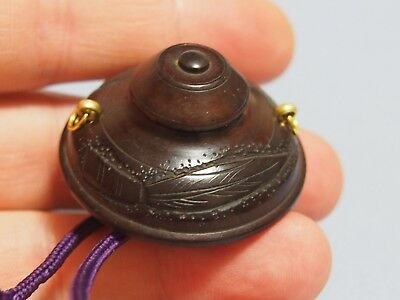 19th century antique Japanese manju Netsuke tetsubin tea pot, Meiji