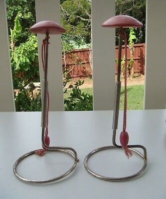 Vintage hat stands x 2 - pink painted wooden top with metal frame with cord