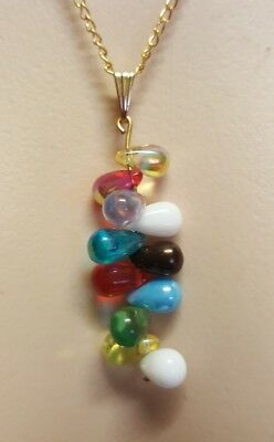 WOMENS VINTAGE gold & multicoloured dangle PENDANT + chain NECKLACE! LOVELY!