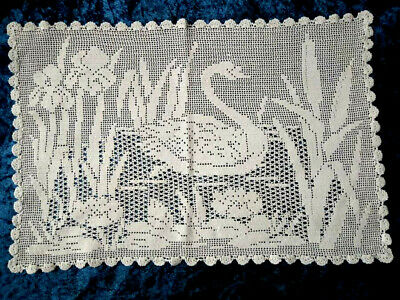 MARY CARD? Design Filet Hand Crochet  'Swan, Water Lily, Iris & Reeds' Lge Centr