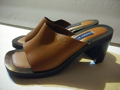 7a0fa6278df Vintage TOMMY HILFIGER Womens Camel Leather Open Toe Sandals Heels Size 6 M