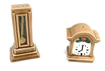 Vintage X-mas Mini Miniature Split Grandfather Clock Salt & Pepper Shaker