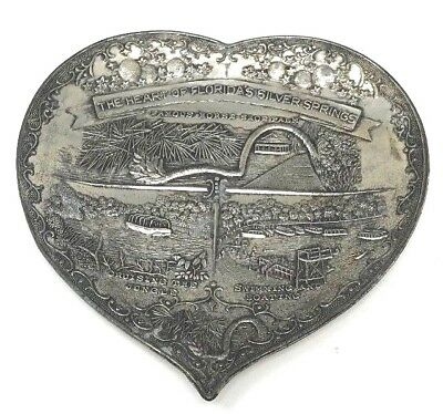 "Rare 1951 Vintage Silver Plate Embossed Dish ""Heart of Florida's Silver Springs"""