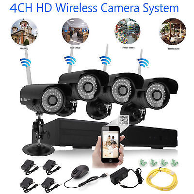 Wireless NVR Outdoor WIFI IR-CUT IP Camera Motion Detection Security System USA
