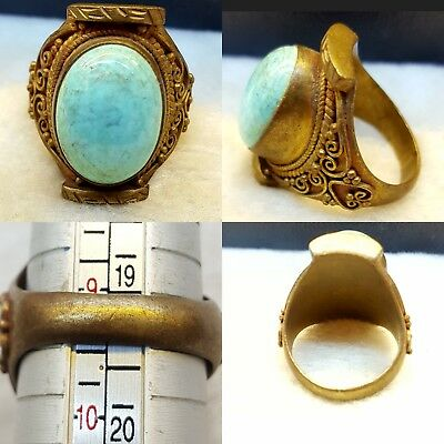 Natural Genuine Real Turquoise Lovely Brass Old Ring  # RTBRs 88