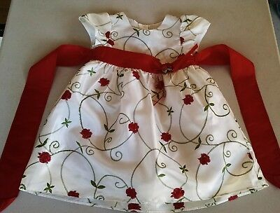 La Princess Dress Girls Size 24 Mo. Ivory, Red, Green Floral Christmas Gorgeous