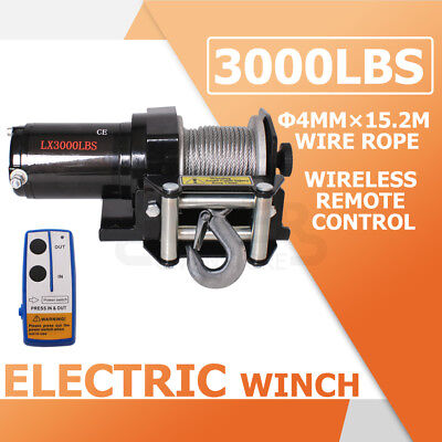 3000LBS /1360KG 12V Electric Winch Wireless Remote Car Boat ATV 4WD Trailer NEW