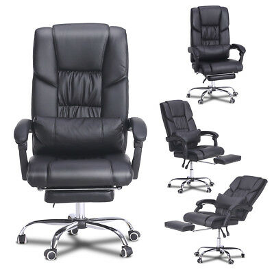 High Back PU Leather Office Chair Recline Adjustable Executive Headrest Footrest