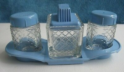 vintage 1950s CRUET SET Salt & Pepper, Mustard pot England GLASS & blue PLASTIC