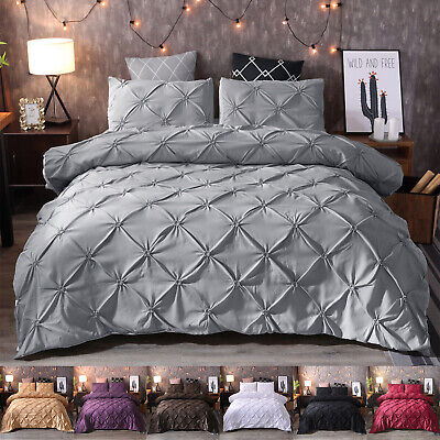 Diamond Pintuck Duvet/Doona/Quilt Cover Set Single Queen King Size Bed Supersoft