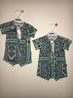 Bonds Zippy Aztec Madness Rompers Pack Bnwts Size 0 & 1