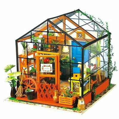 Miniature Doll House Wooden Dollhouse Miniature 3D Garden Puzzle Toy DIY wi