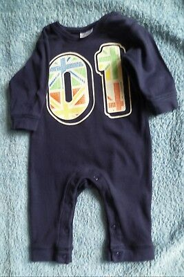 Baby clothes UNISEX BOY GIRL 3-6m navy blue babygrow footless no.1 SEE SHOP!