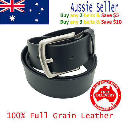 New 39mm Full Grain Cowhide Premium Quality Plain Black Leather Men's Jeans Belt