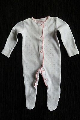 Baby clothes GIRL newborn 0-1m cute white/pink spot/edged F&F babygrow SEE SHOP!