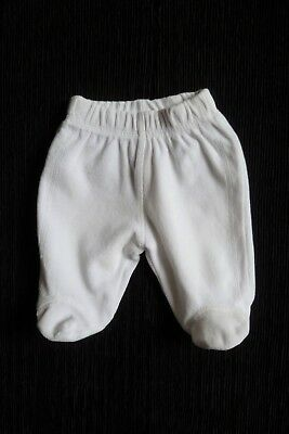 Baby clothes UNI BOY GIRL newborn 0-1m white velour over-trousers footed, pram
