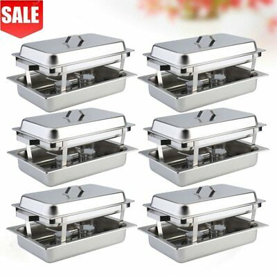 6 Pack Catering Stainless Steel Chafer Chafing Dish Sets 8 Qt Party Pack New