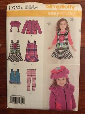 Simplicity Toddler Girls Jumper Dress Jacket Leggings Hat Pattern 1724 UC 1/2-4