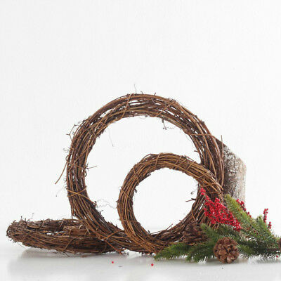 Christmas Natural Dried Rattan Wreath Ring Garland Home Door Wall DIY Ornament #