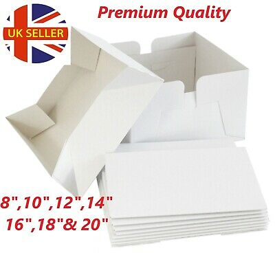 "All Sizes White Cake Boxes 8"",10,12,14&16"" inch & Lids & 4, 6 &12 Hold Cupcake"