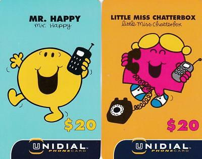 Unidial $20 Mr Happy $20 Little Miss Chatterbox Rare Sample Phonecard P17