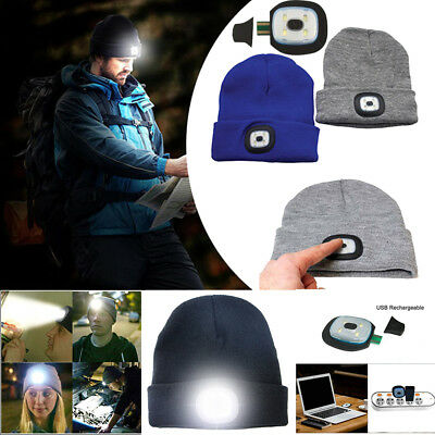 Unisex LED Beanie Hat USB Rechargeable Battery 5 Hours High Powered Light Cap