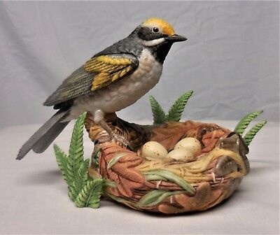LENOX Bird Figurine GOLDEN WINGED WARBLER 2002 Porcelain Sculpture Statue SUPER