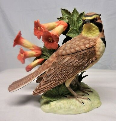 LENOX Bird Figurine HORNED LARK 2001 Fine Porcelain Sculpture Statue SUPER