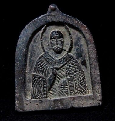 Medieval Period  bronze Religious Icon Pendant with Saint 1200-1400 AD