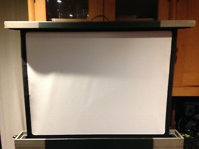 Vintage Projection Screen Pop up Table Top Portable Carry Box Autorect Hendon UK