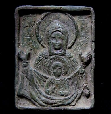 Medieval Period  Bronze Icon depicting - Virgin Mary and Jesus 1200 - 1400 AD